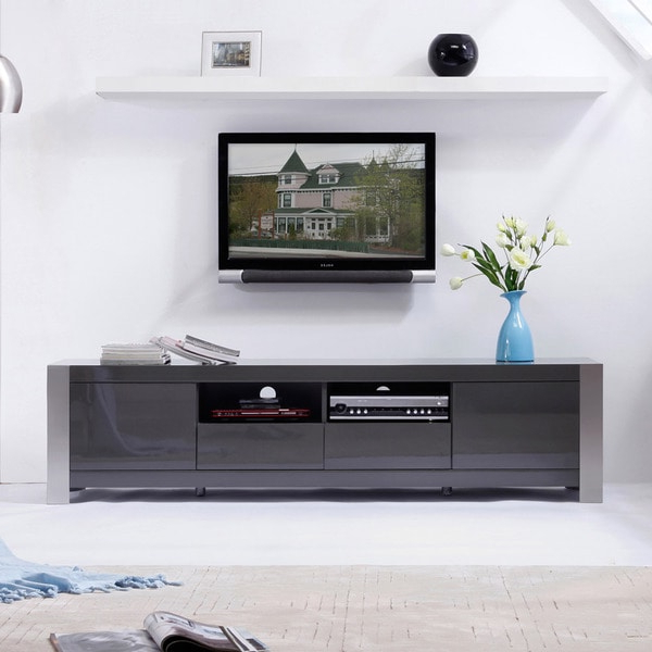Shop 'maya' Grey High Gloss Stainless Steel Tv Stand Inside Delphi Grey Tv Stands (View 14 of 20)
