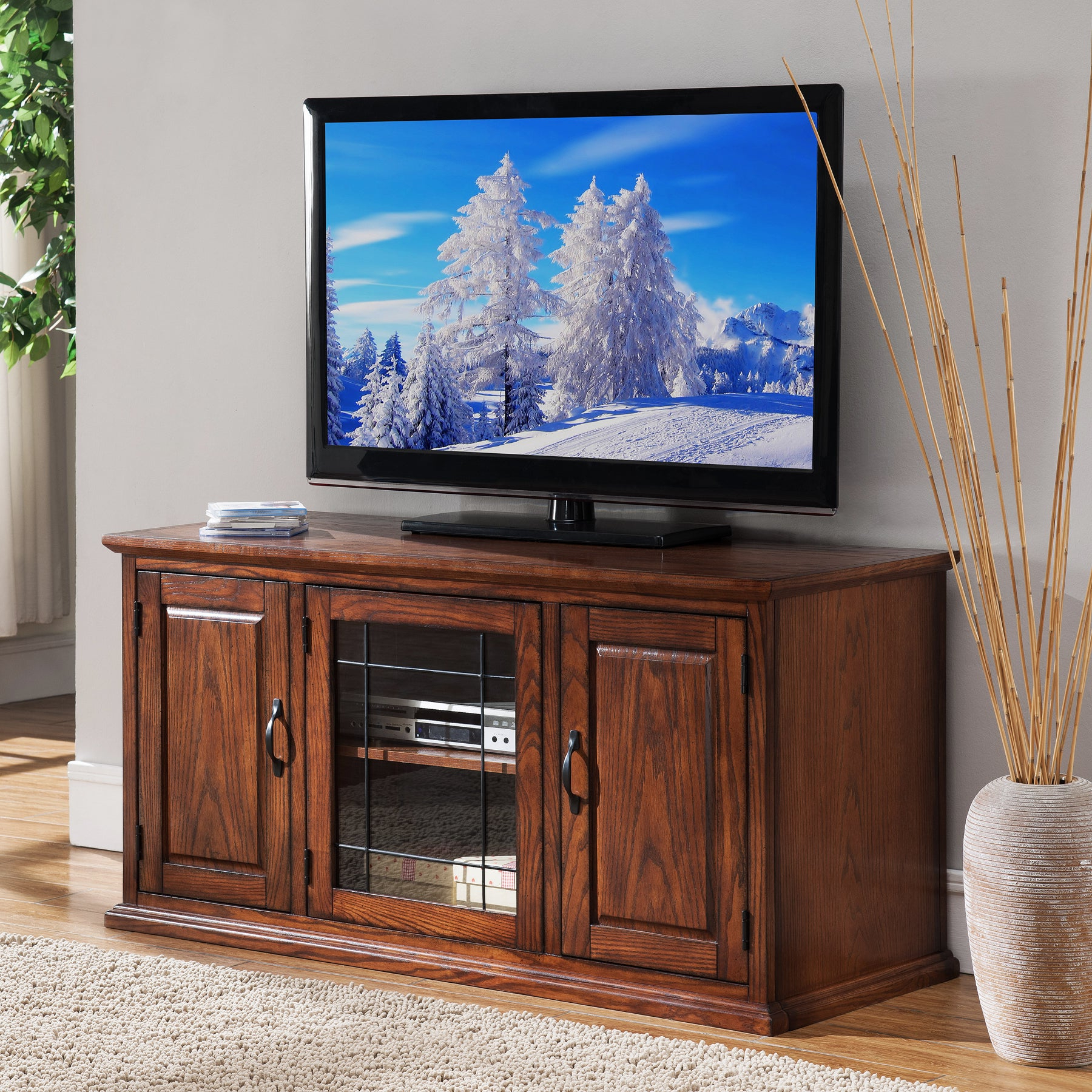 """Shop Oak Wood/glass 50 Inch Leaded Tv Stand – Free Inside Colleen Tv Stands For Tvs Up To 50"""" (View 4 of 20)"""