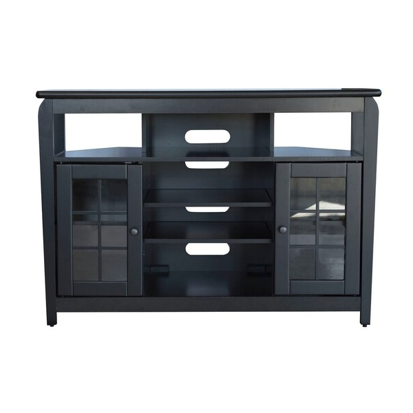 """Shop Offex 46""""w Corner Tv Stand With 2 Cabinet And Glass With Regard To Modern 2 Glass Door Corner Tv Stands (View 17 of 20)"""