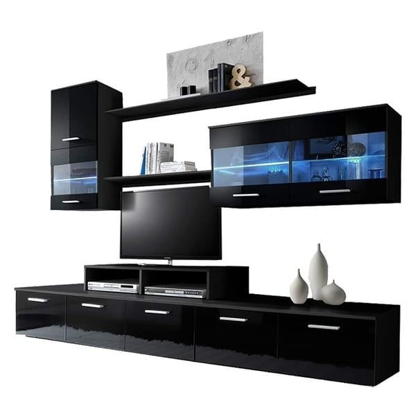 Shop Paris Modern Entertainment Center Wall Unit With Led Regarding 57'' Tv Stands With Led Lights Modern Entertainment Center (View 12 of 20)