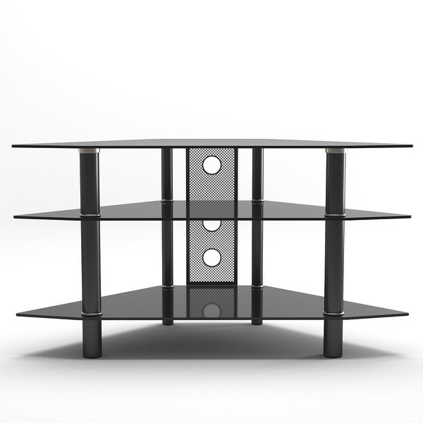 """Shop Ryan Rove Ruby Space Saving Modern 44"""" Corner Glass For Modern Black Tv Stands On Wheels (View 5 of 20)"""