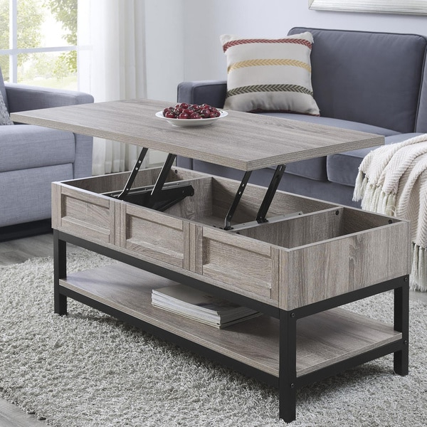 Shop The Gray Barn Latigo Lift Top Sonoma Oak Coffee Table Within Emmett Sonoma Tv Stands With Coffee Table With Metal Frame (View 17 of 20)
