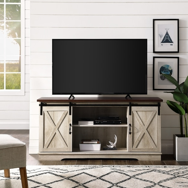 Shop The Gray Barn Wind Gap 58 Inch Sliding Barn Door Tv Regarding Tv Stands In Rustic Gray Wash Entertainment Center For Living Room (View 9 of 20)