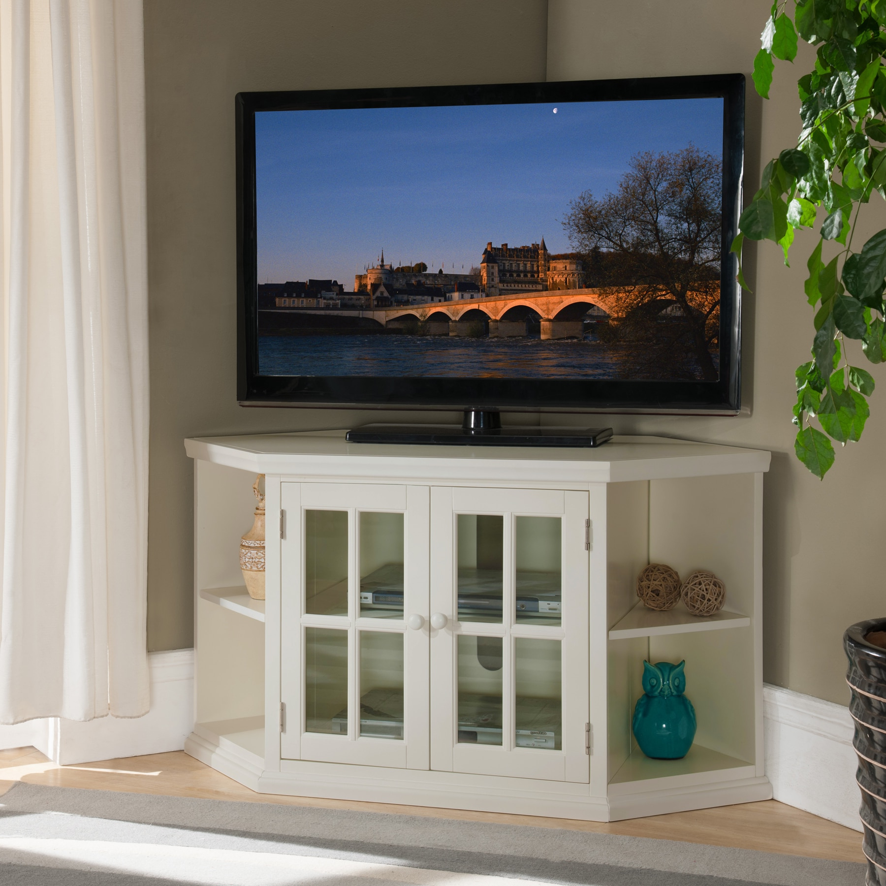 Shop White 46 Inch Corner Tv Stand With Bookcases – Free Intended For Priya Corner Tv Stands (View 12 of 20)