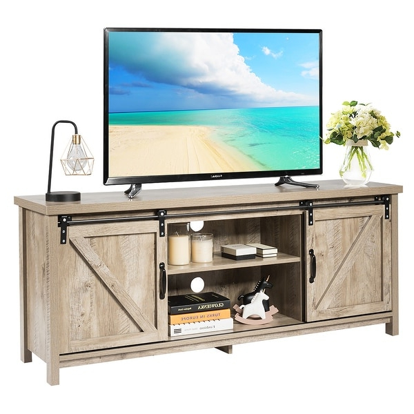 """Shop Wood Tv Stand For 60"""" Television Tv Ark With Sliding Inside Barn Door Wood Tv Stands (View 15 of 20)"""