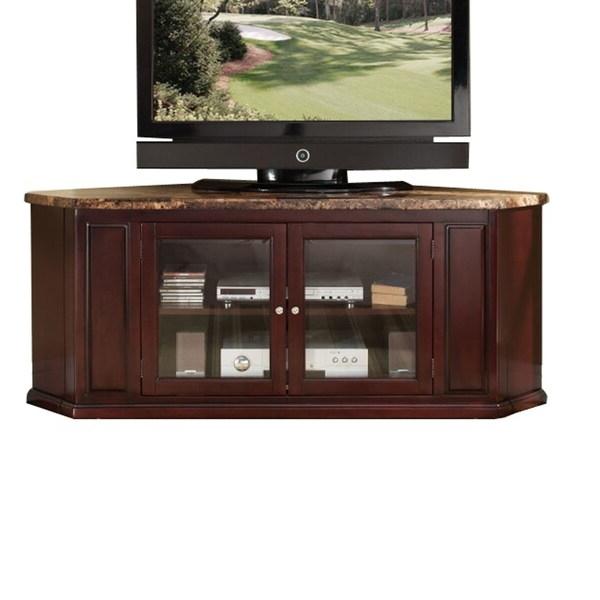 Shop Wooden Corner Tv Stand With Two Glass Doors Storage Pertaining To Modern 2 Glass Door Corner Tv Stands (View 12 of 20)