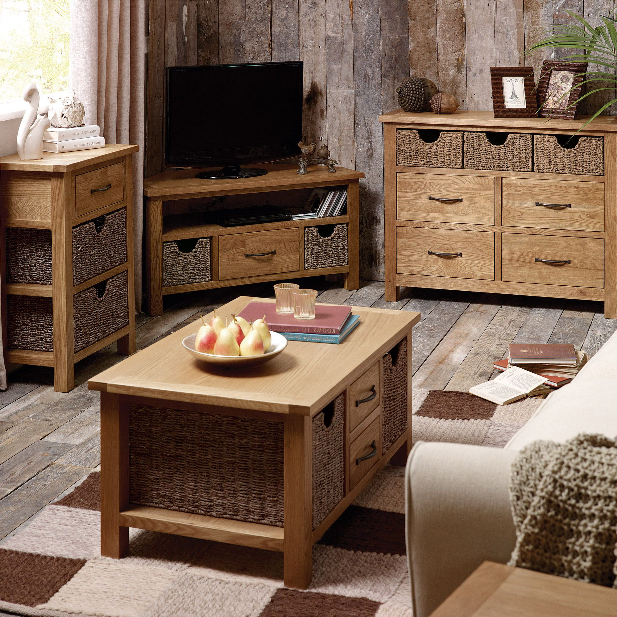 Sidmouth Oak Telephone Table With Baskets | Oak Furniture Inside Sherbourne Oak Corner Tv Stands (View 5 of 20)