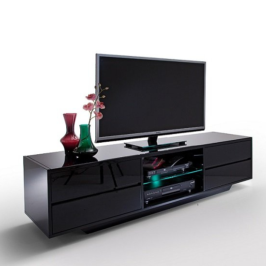 Sienna Tv Stand Unit In Black High Gloss With Led Lights For Dillon Black Tv Unit Stands (View 17 of 20)