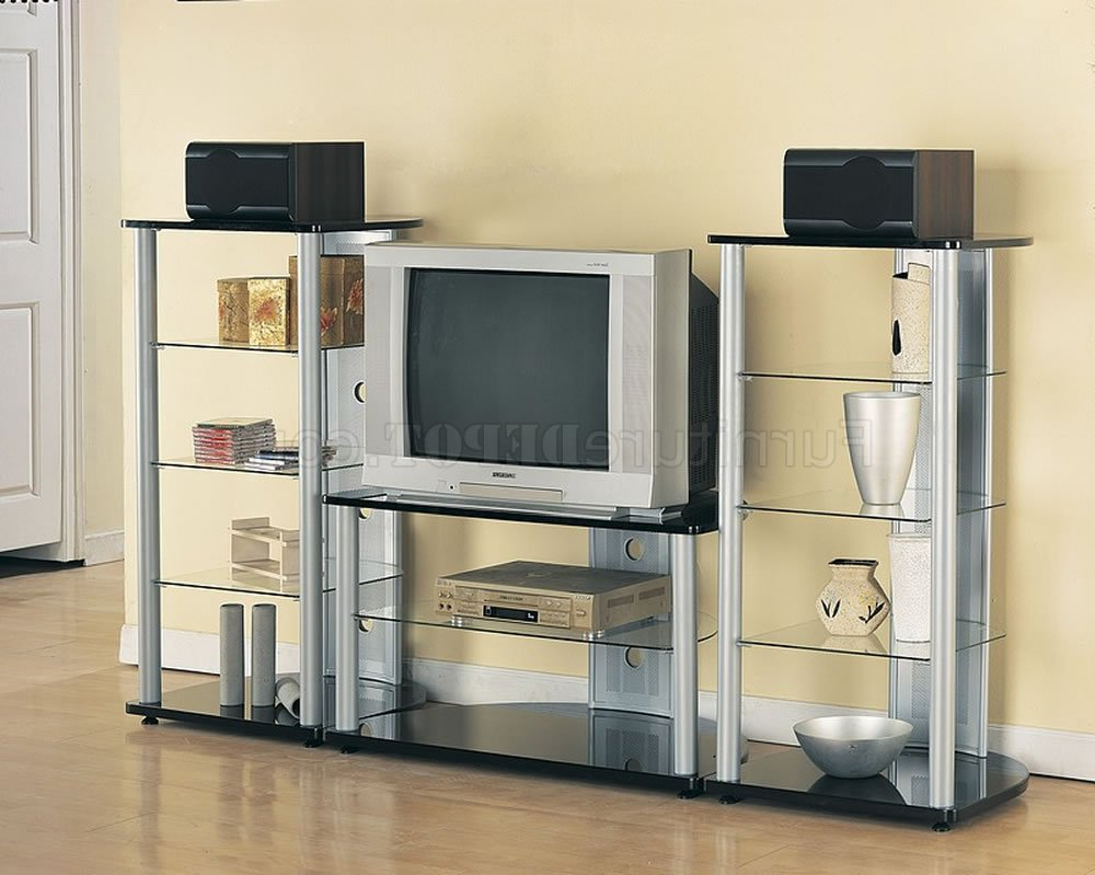 Silver & Black Modern Tv Stand W/black Glass Shelves With Modern Black Tv Stands On Wheels With Metal Cart (View 14 of 20)