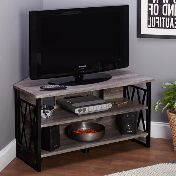 Simple Living Seneca Corner Tv Stand – Free Shipping Today With Rustic Grey Tv Stand Media Console Stands For Living Room Bedroom (View 9 of 20)