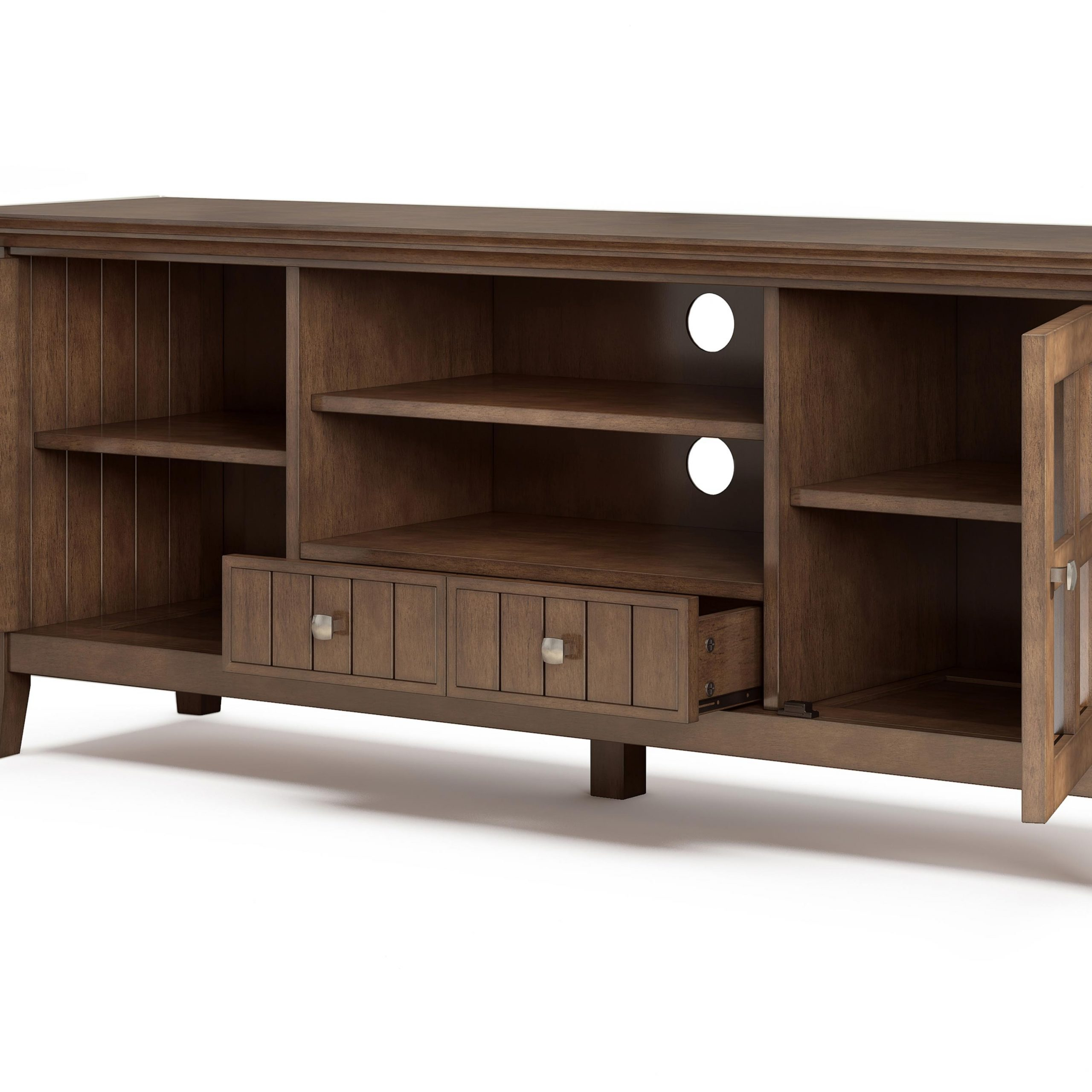 Simpli Home Acadian Solid Wood 60 Inch Wide Rustic Tv For Greenwich Wide Tv Stands (View 2 of 20)