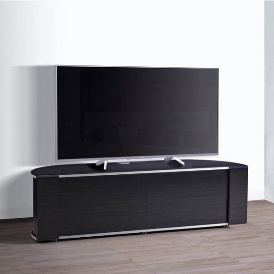 Sinter Hybrid Curved Tv Stand In Gloss Black With Silver Inside Tv Stands Fwith Tv Mount Silver/black (View 6 of 20)