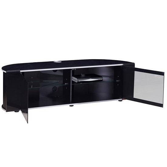 Sinter Hybrid Curved Tv Stand In Gloss Black With Silver With Tv Stands Fwith Tv Mount Silver/black (View 4 of 20)
