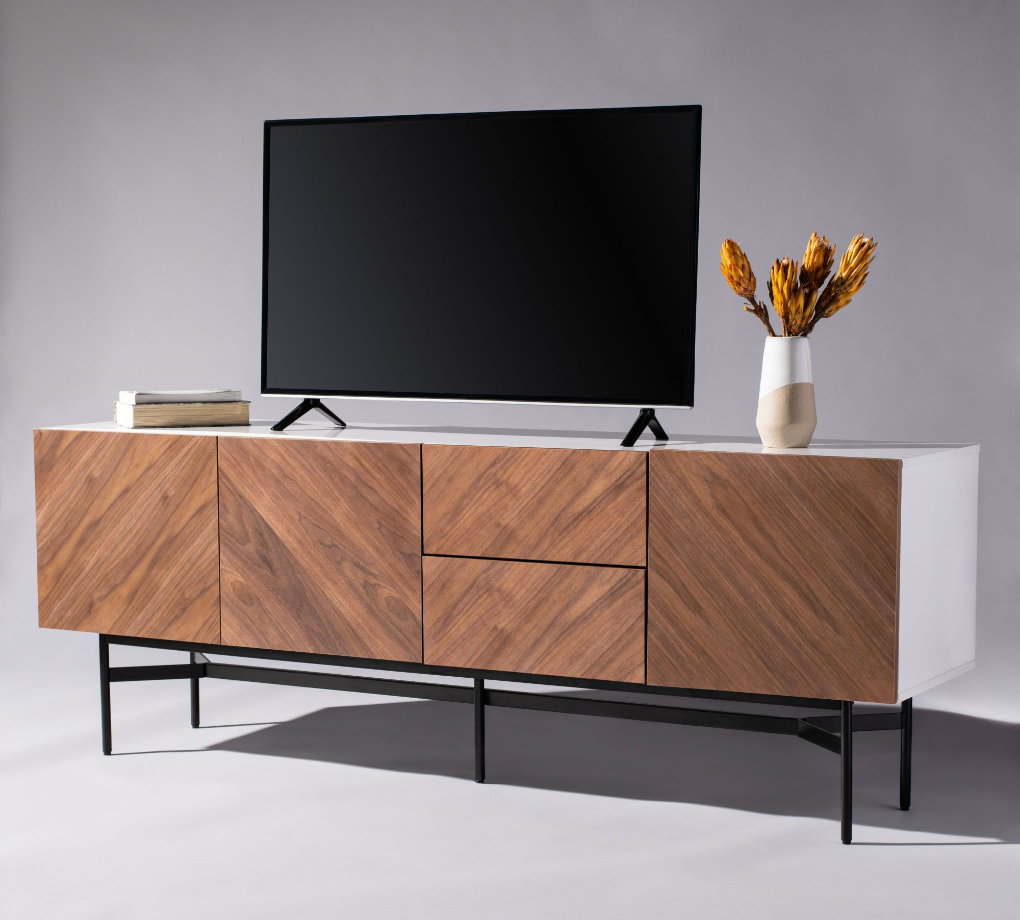 Skip Wood Tv Stand With Regard To Modern Mobile Rolling Tv Stands With Metal Shelf Black Finish (View 4 of 20)