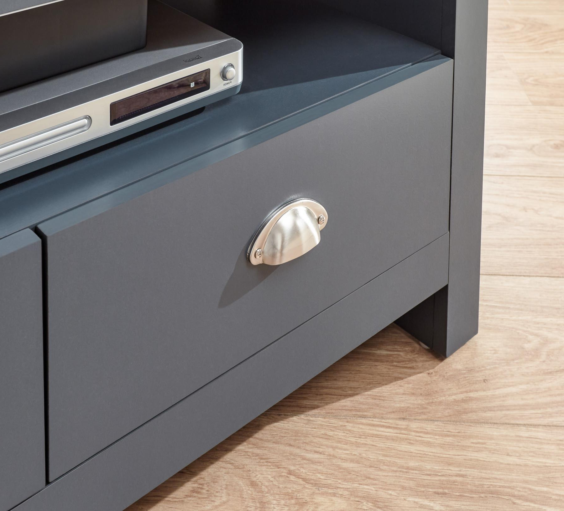 Slate Blue Oak Top Corner Tv Stand Two Tone 2 Drawer Throughout Lancaster Corner Tv Stands (View 18 of 20)