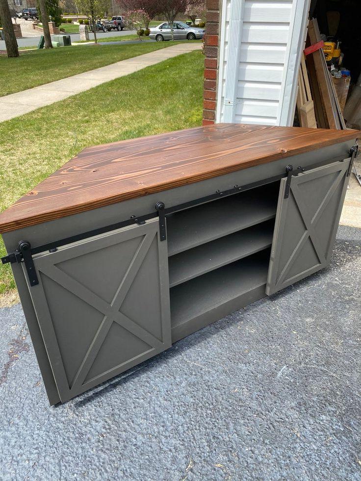 Sliding Barn Door Corner Tv Stand | Farmhouse Pertaining To Avalene Rustic Farmhouse Corner Tv Stands (View 7 of 20)