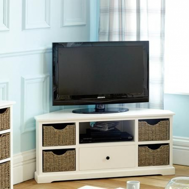 Small Living Room  Could Put Baskets On Shelves To Dress Intended For Compton Ivory Corner Tv Stands (View 10 of 20)