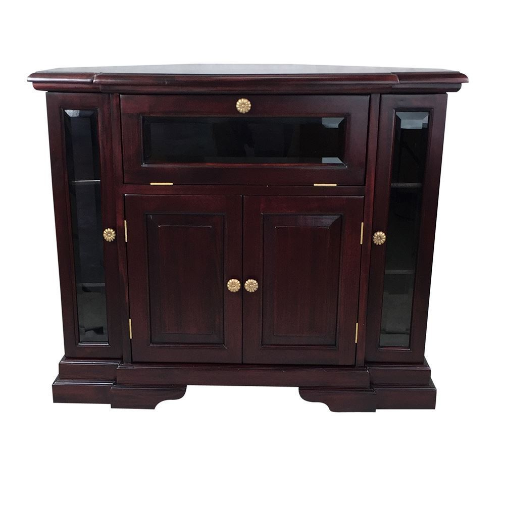 Solid Mahogany Wood Corner Tv Stand / Cabinet – Antique With Samira Corner Tv Unit Stands (View 11 of 20)