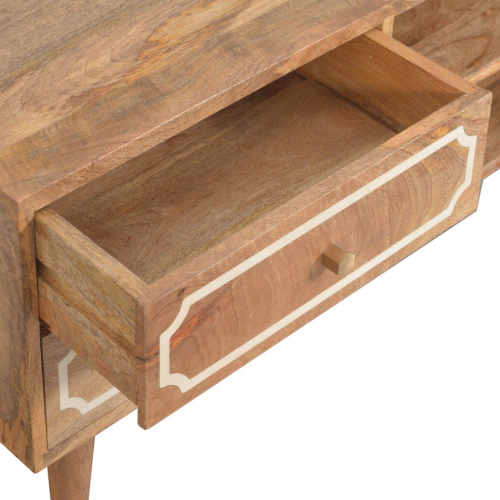 Solid Mango Wood Oak Finished Bone Inlaid Nepal 2 Drawer 2 Regarding Scandi 2 Drawer White Tv Media Unit Stands (View 17 of 20)