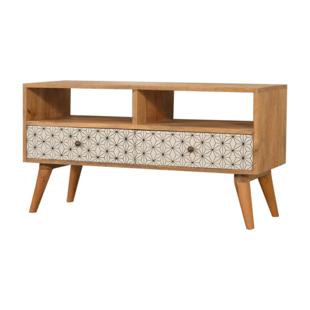 Solid Mango Wood Oak Finished Geometric Screen Printed 2 With Scandi 2 Drawer White Tv Media Unit Stands (View 15 of 20)