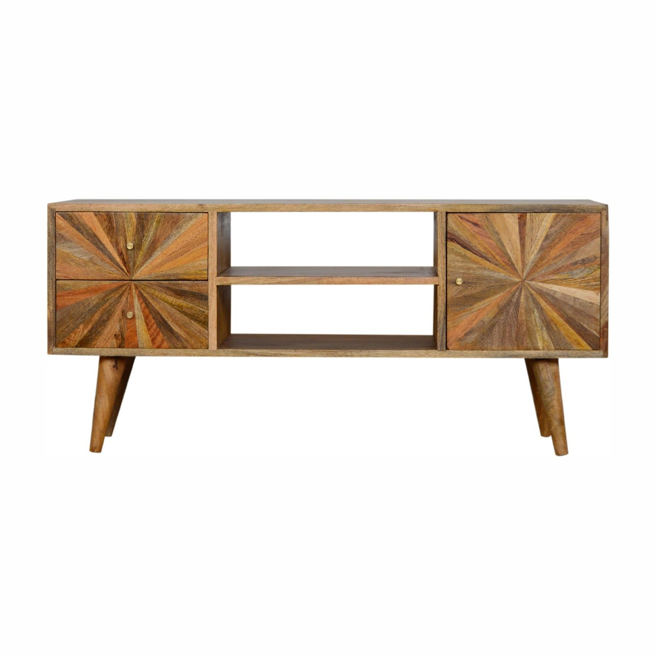 Solid Mango Wood Oak Finished Scandinavian Style Sunrise For Scandi 2 Drawer White Tv Media Unit Stands (View 11 of 20)