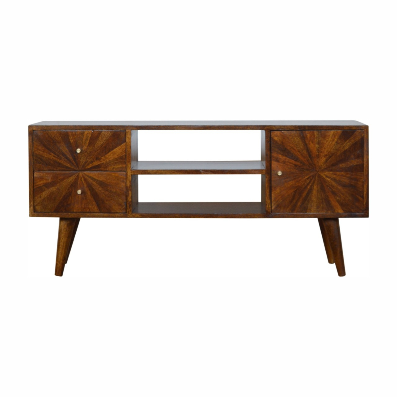 Solid Mango Wood Scandinavian Style Sunrise Patterned 1 Intended For Scandi 2 Drawer White Tv Media Unit Stands (View 18 of 20)