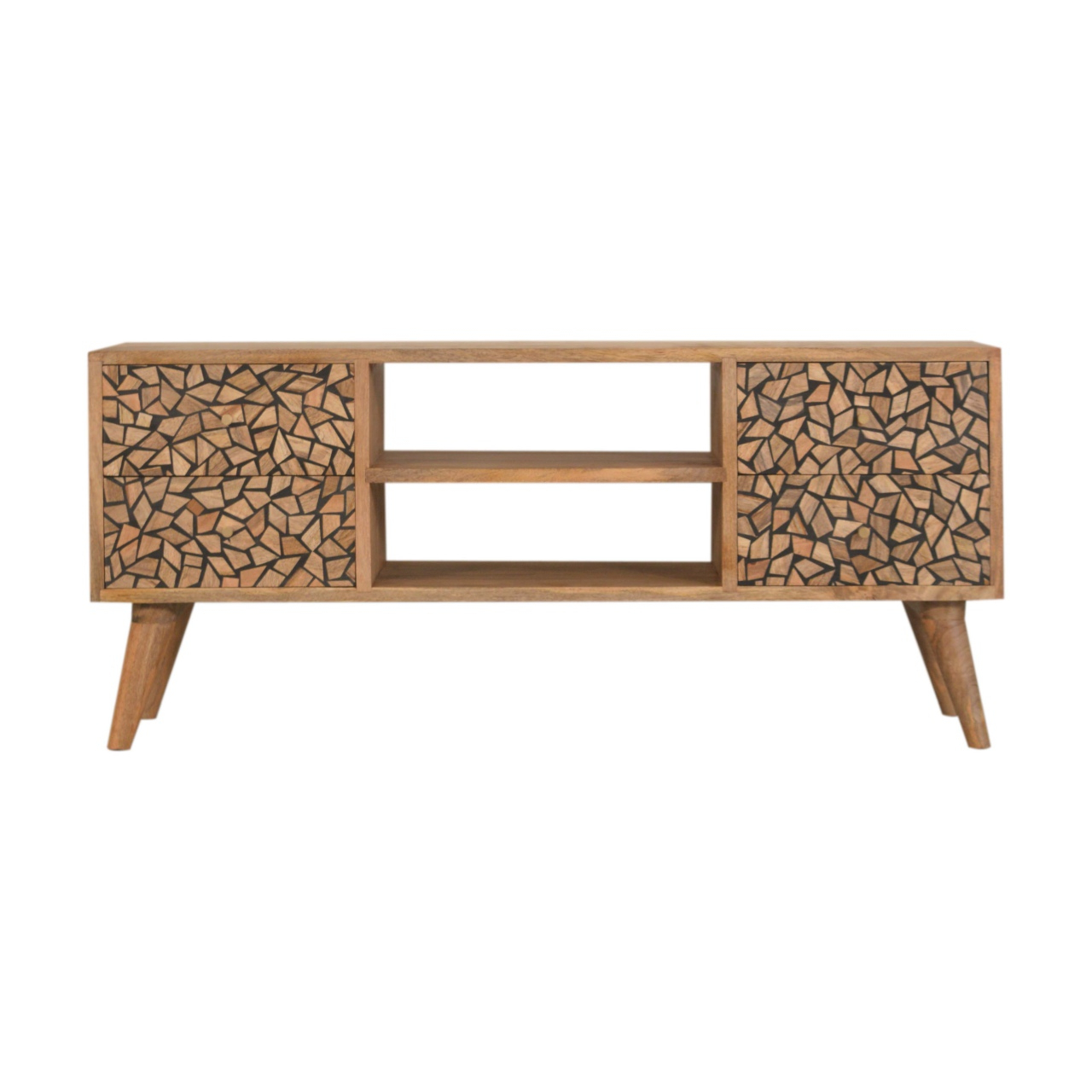 Solid Oak Finished Mango Wood Scandinavian Style 4 Drawer Within Scandi 2 Drawer White Tv Media Unit Stands (View 9 of 20)