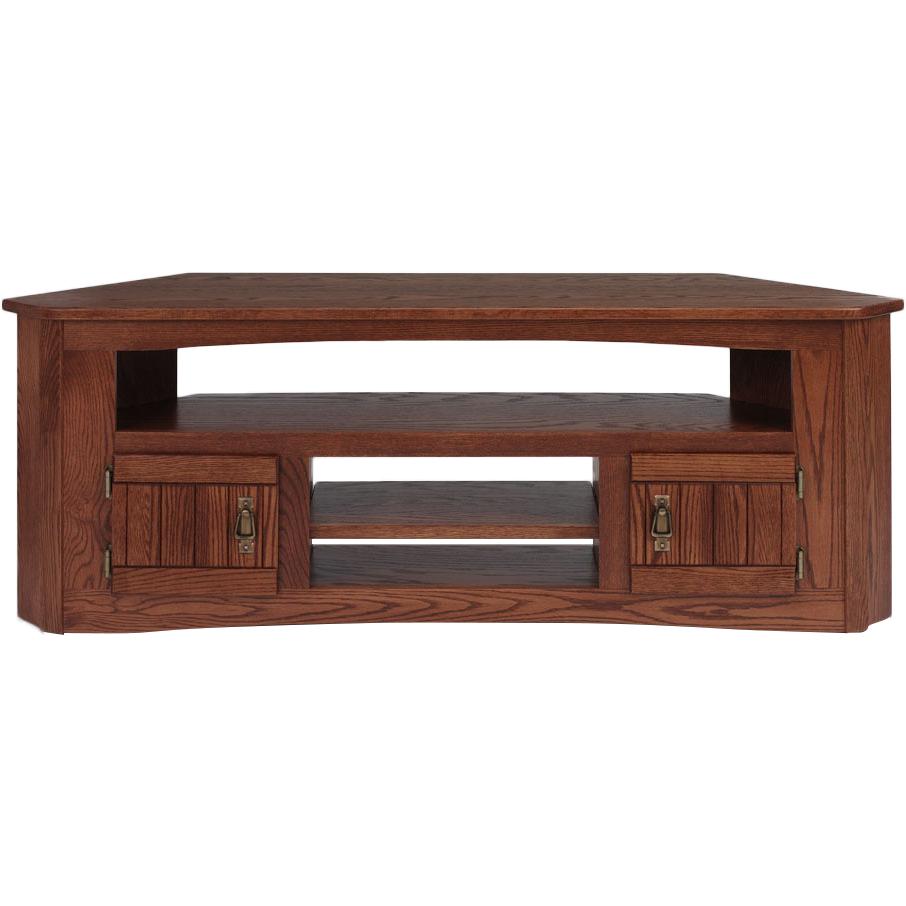 "Solid Oak Mission Style Corner Tv Stand – 61"" – The Oak Regarding Hex Corner Tv Stands (View 18 of 20)"