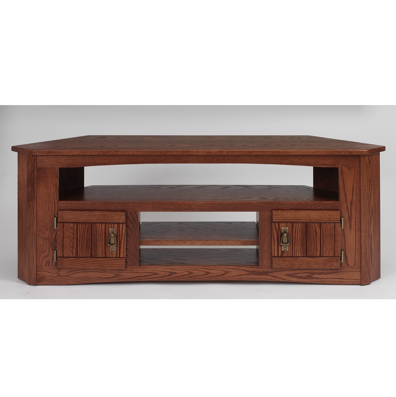 """Solid Oak Mission Style Corner Tv Stand – 61"""" – The Oak With 60"""" Corner Tv Stands Washed Oak (View 10 of 20)"""