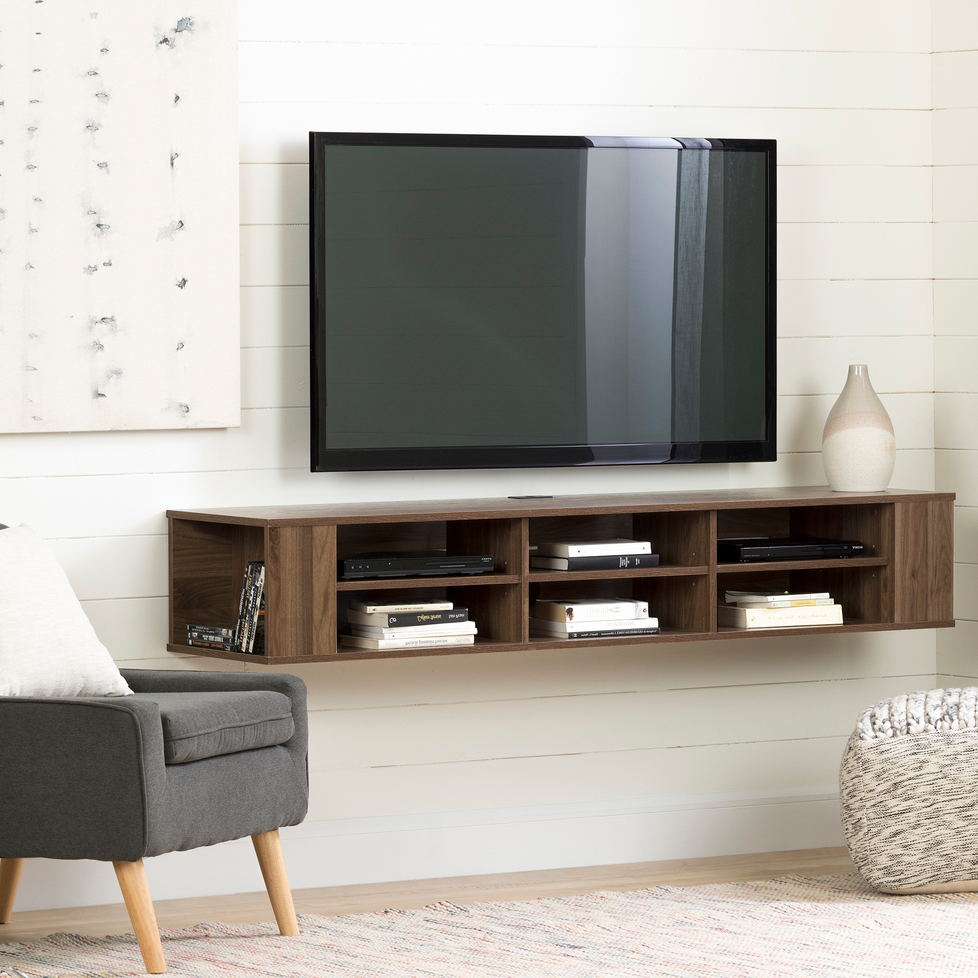 """South Shore City Life 66"""" Wall Mounted Tv Stand, Multiple Within Tv Stands With Led Lights In Multiple Finishes (View 9 of 20)"""