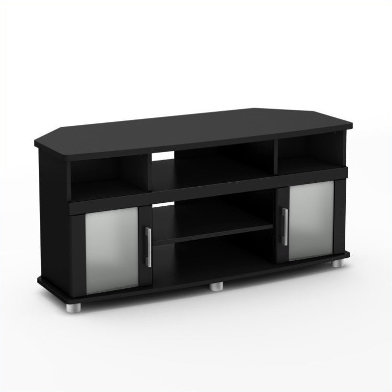 """South Shore City Life Corner Tv Stand For Flat Panel Tvs For Corner Tv Stands For Tvs Up To 43"""" Black (View 8 of 20)"""