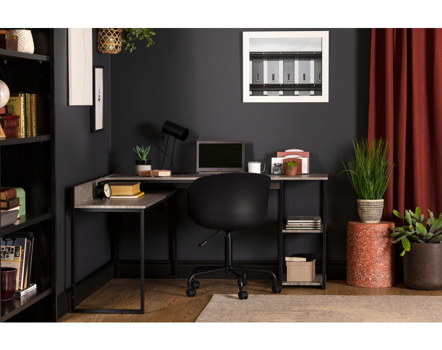 South Shore Evane L, Shaped Desk, Oak Camel – M2go With South Shore Evane Tv Stands With Doors In Oak Camel (View 13 of 20)