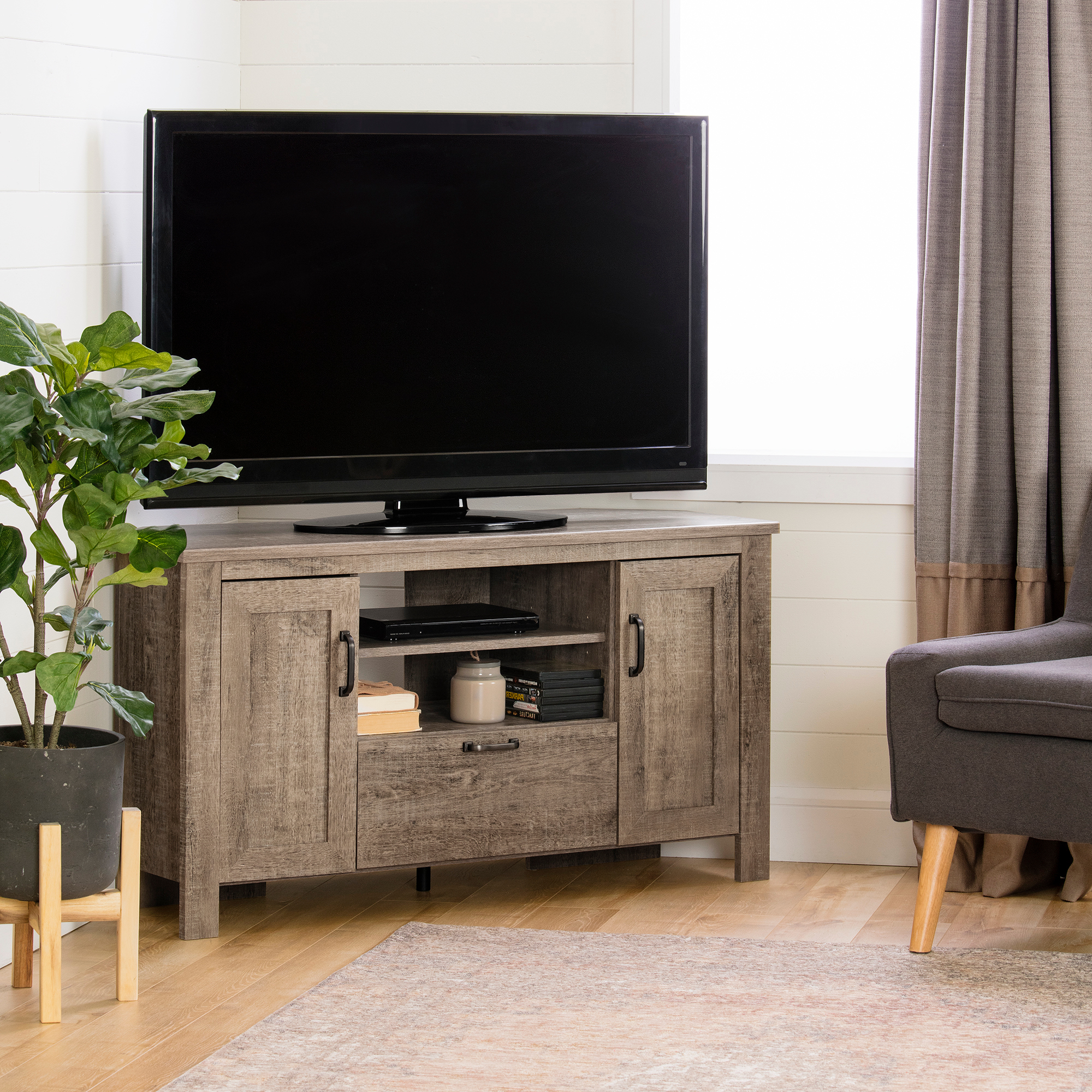South Shore Lionel Corner Tv Stand, Multiple Finishes Inside Tv Stands With Led Lights In Multiple Finishes (View 5 of 20)