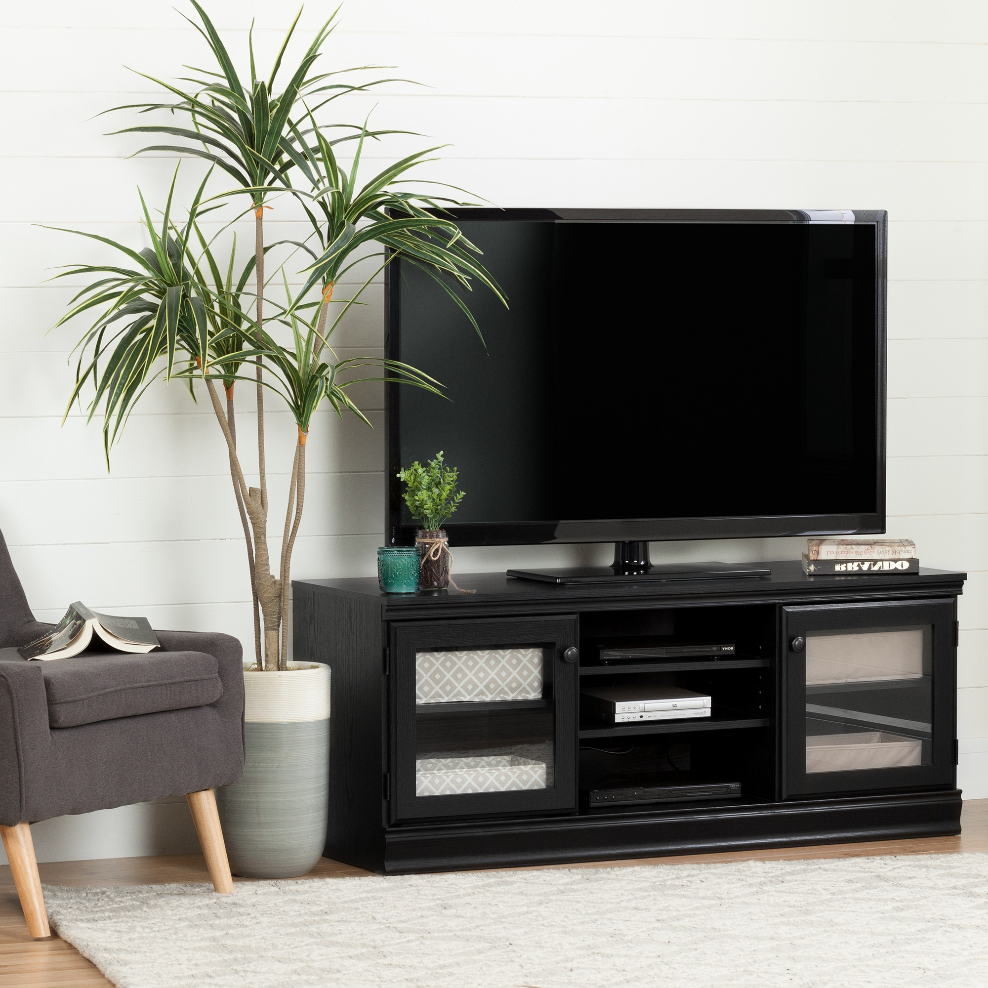 South Shore Morgan Tv Stand For Tvs Up To 75'', Multiple In Tv Stands With Led Lights In Multiple Finishes (View 6 of 20)