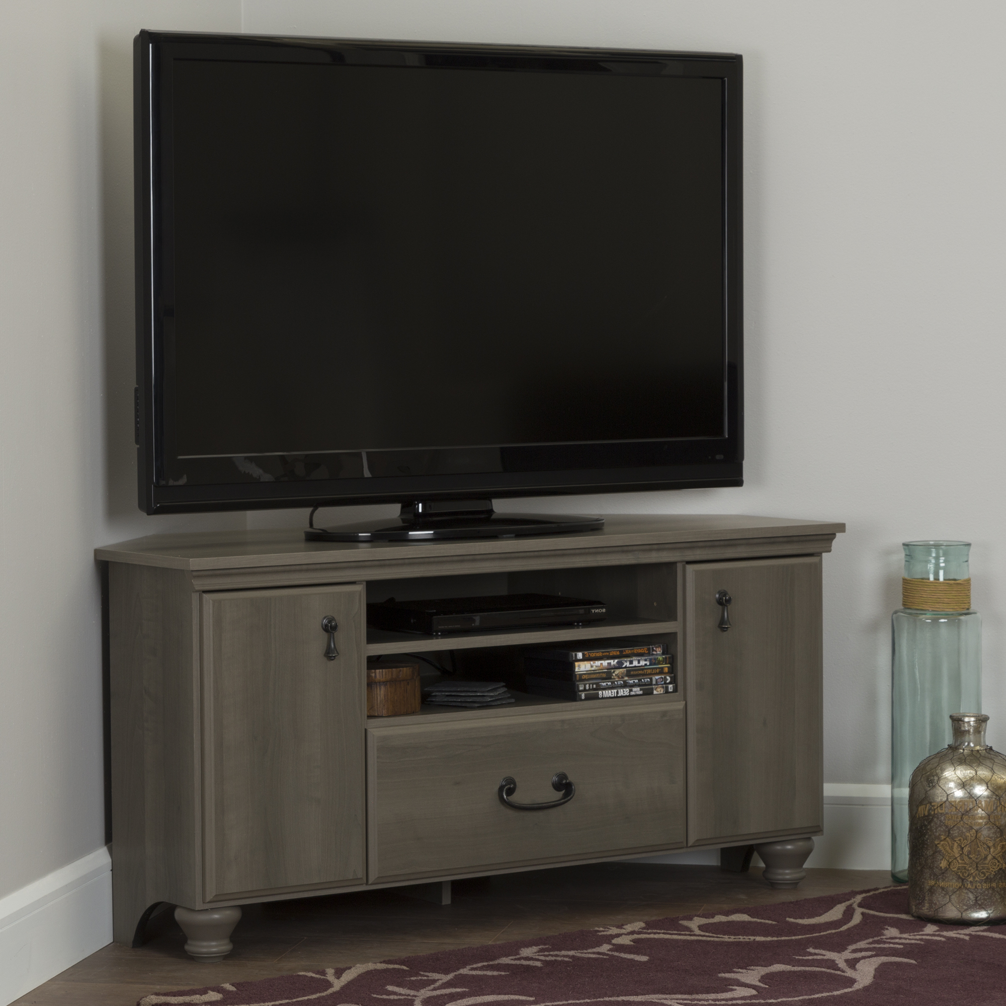 South Shore Noble Corner Tv Stand For Tvs Up To 55' In Intended For Tv Stands With Led Lights In Multiple Finishes (View 8 of 20)