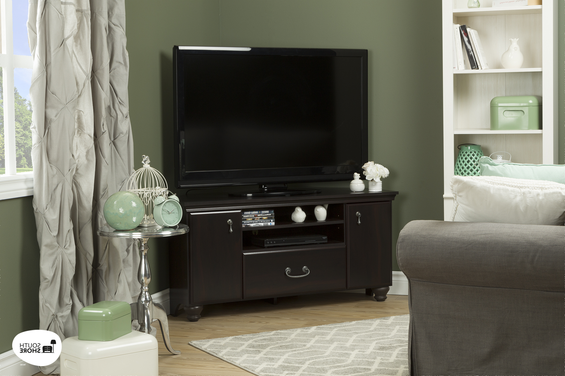 South Shore Noble Corner Tv Stand For Tvs Up To 55'' In Regarding Tv Stands With Led Lights In Multiple Finishes (View 16 of 20)