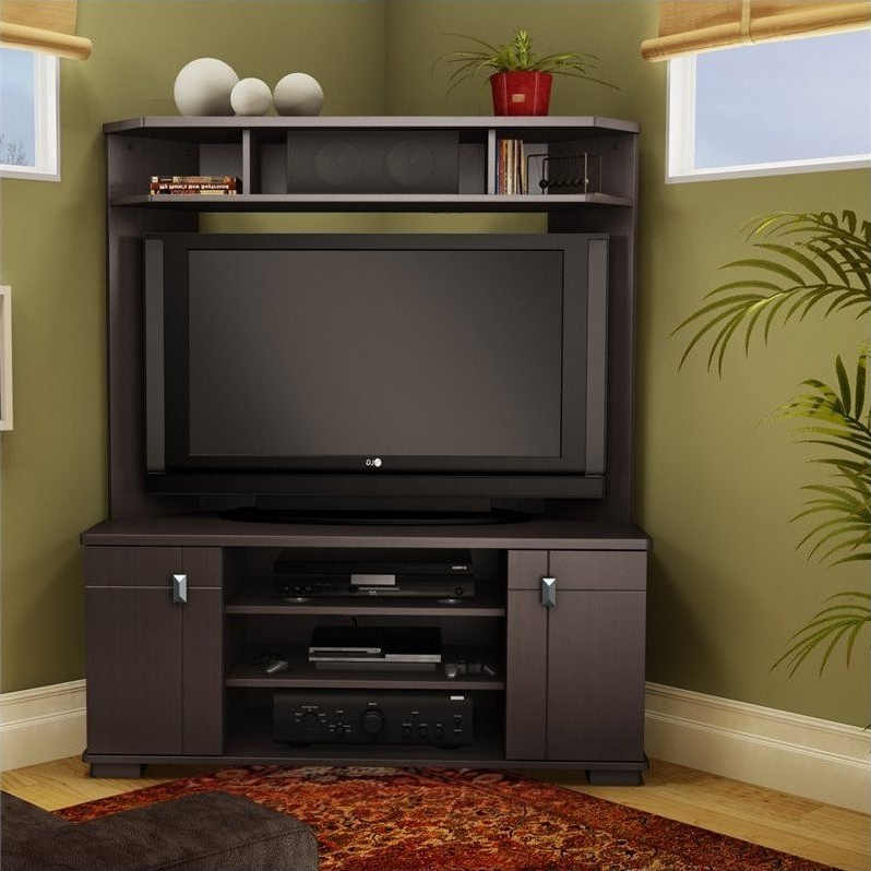 South Shore Vertex Corner Tv Stand W Hutch Chocolate With Regard To Corner Entertainment Tv Stands (View 13 of 20)