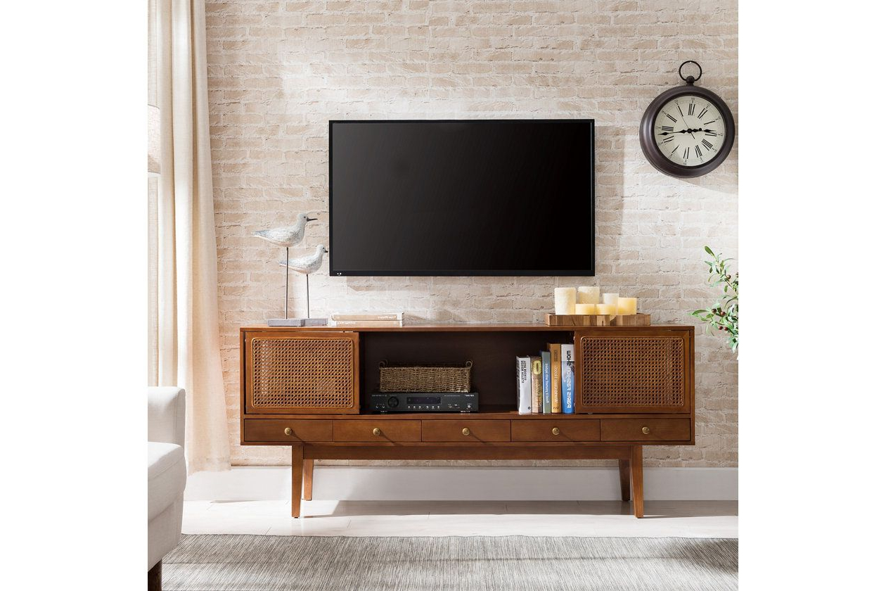 """Southern Enterprises 70"""" Simms Midcentury Modern Media With Lucy Cane Cream Corner Tv Stands (View 11 of 20)"""