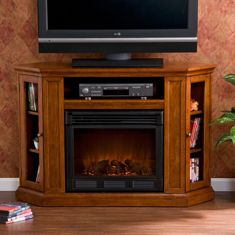 Southern Enterprises Claremont Brown Mahogany Media With Regard To Electric Fireplace Tv Stands With Shelf (View 3 of 20)