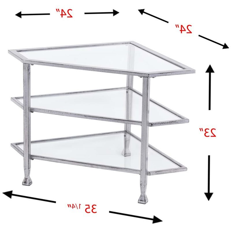 Southern Enterprises Jaymes Glass Top Metal Corner Tv For Claudia Brass Effect Wide Tv Stands (View 11 of 20)