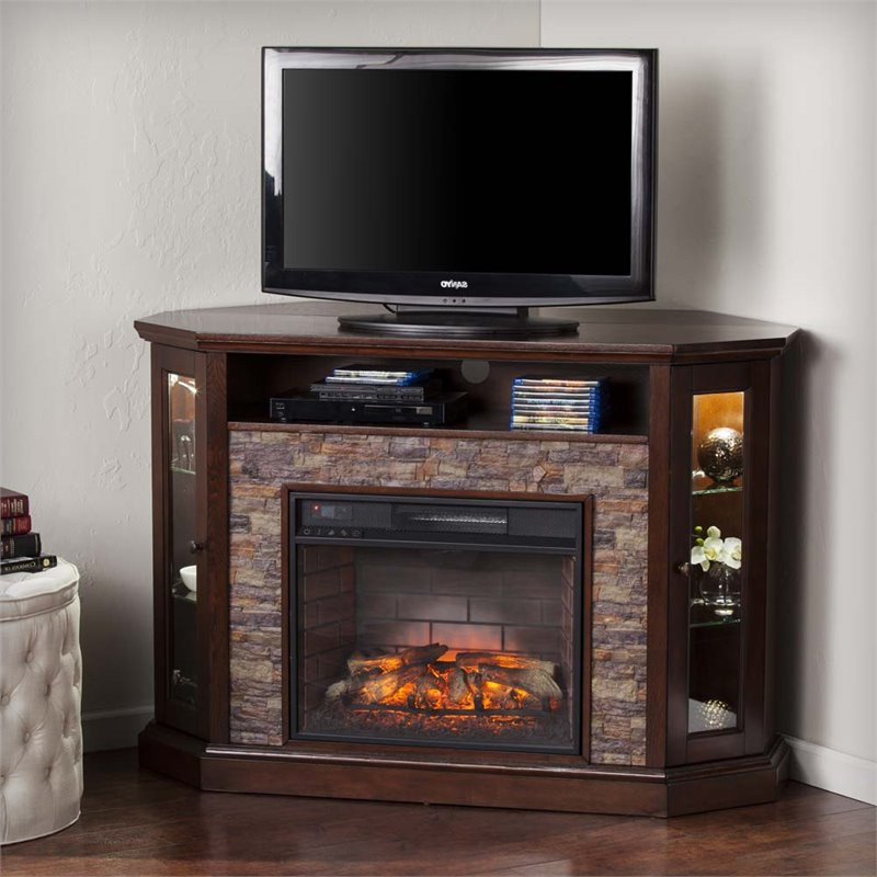 Southern Enterprises Redden Corner Electric Fireplace Tv Throughout Electric Fireplace Tv Stands With Shelf (View 8 of 20)