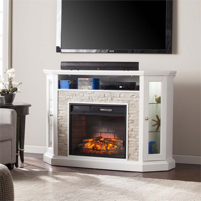 Southern Enterprises Redden Corner Electric Fireplace Tv With Regard To Electric Fireplace Tv Stands With Shelf (View 12 of 20)