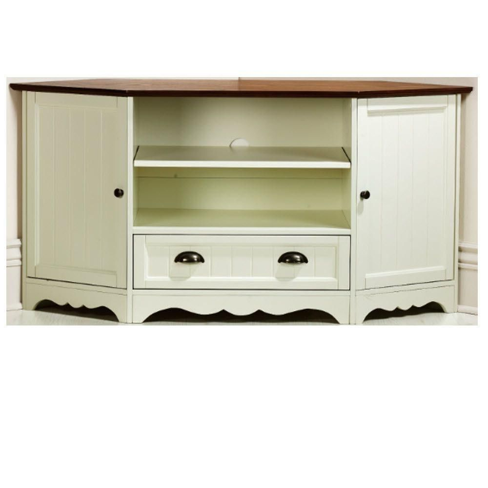 Southport 1 Drawer Corner Media Cabinet In Ivory/oak Throughout Compton Ivory Corner Tv Stands (View 4 of 20)