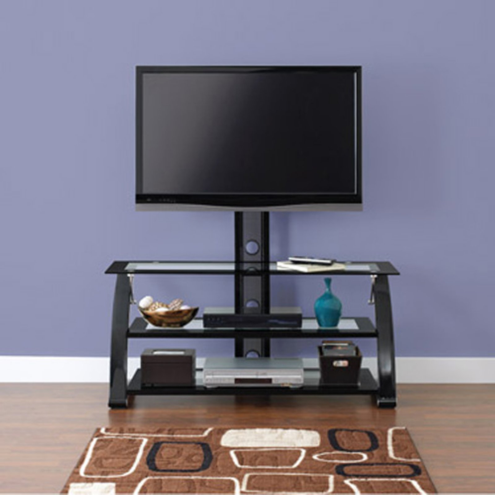 """Spar Glass And Metal Tv Stand For Tvs Up To 65"""" – Walmart With Glass Shelves Tv Stands (View 4 of 20)"""