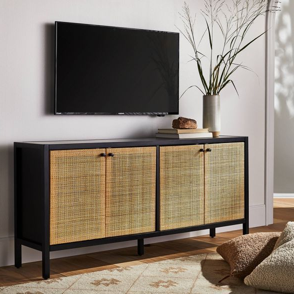 """Springville Caned Door Tv Stand For Tv's Up To 60"""" Black Throughout Lansing Tv Stands For Tvs Up To 50"""" (View 15 of 20)"""
