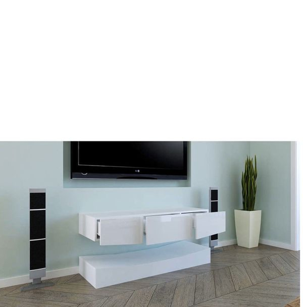 Ssline Modern White Tv Cabinet With Rgb Led Light Floating For 57'' Led Tv Stands With Rgb Led Light And Glass Shelves (View 15 of 20)