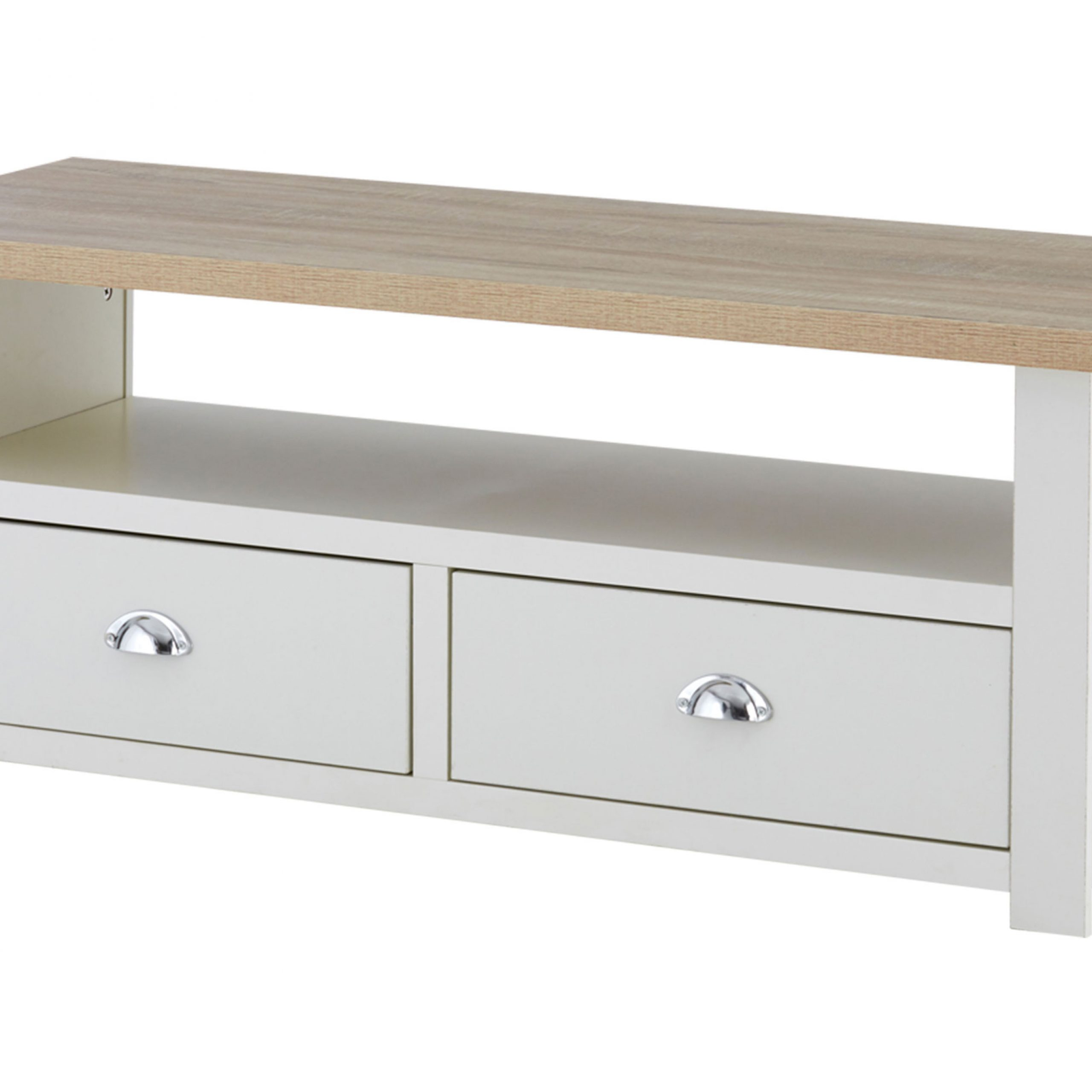 St Ives 2 Drawer Media Tv Unit Stand Oak Veneer White Throughout Scandi 2 Drawer White Tv Media Unit Stands (View 4 of 20)