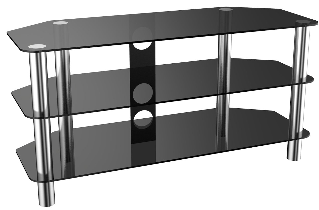 """Stealth Mounts Sm 05bc 1000mm Universal Corner Tv Stand With Regard To Glass Shelves Tv Stands For Tvs Up To 50"""" (View 3 of 20)"""