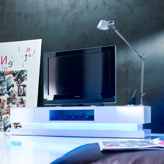 Step High Gloss Plasma Tv Cabinet With Multi Led Lights Regarding Zimtown Tv Stands With High Gloss Led Lights (View 16 of 20)