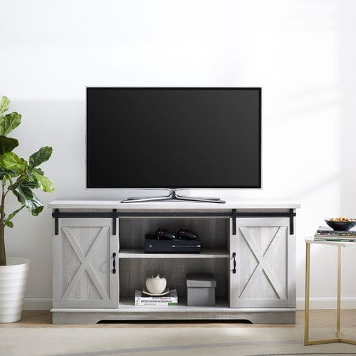 """Stone Gray Farmhouse Sliding Barn Door 58"""" Tv Stand   Barn Inside Jaxpety 58"""" Farmhouse Sliding Barn Door Tv Stands (View 12 of 20)"""
